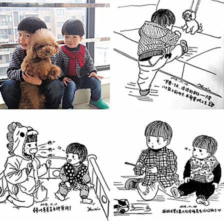 80后妈妈 为两儿子手绘漫画成长纪念册