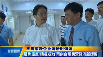 王昌荣赴企业调研时强调 聚焦重点 精准发力 再创台州民营经济新辉煌