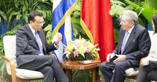 李克强同古巴国务委员会主席兼部长会议主席劳尔·卡斯特罗举行会谈